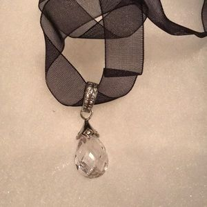 Beautiful silver crystal necklace w black ribbon